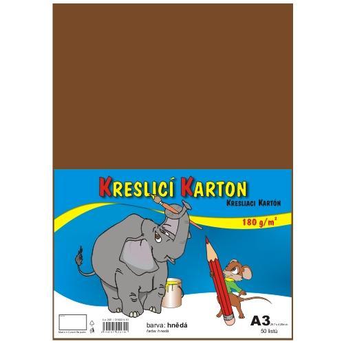 Kreslicí karton barevný A3 - 180g - 50 ks - hnědý