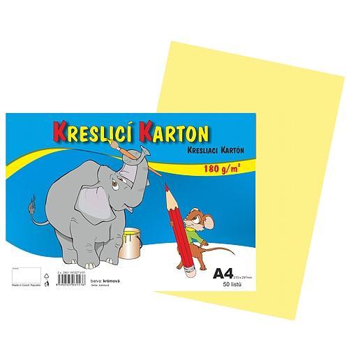 Kreslicí karton barevný A4 - 180g - 50 ks - krémový