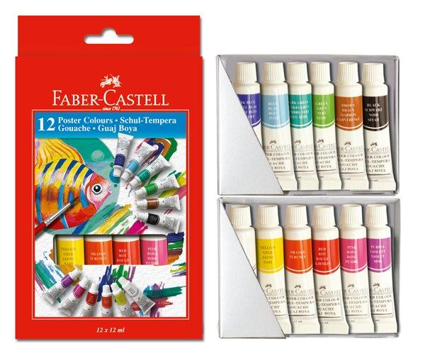 Temperové barvy Faber-Castell, v tubě 12 barev, 12ml