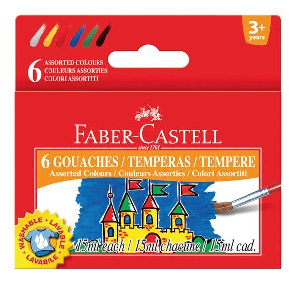 Temperové barvy Faber-Castell 15ml 6 barev, standardní