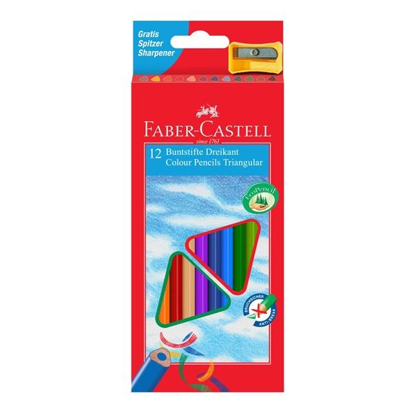 Pastelky Faber-Castell - trojhranné, 12ks + ořezávátko