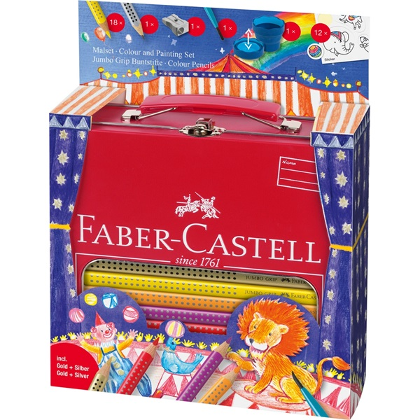 Pastelky Faber-Castell Jumbo Grip dárkový kufřík Cirkus 18ks + příslušenství