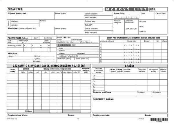 Mzdový list pro podnikatele - karta A4