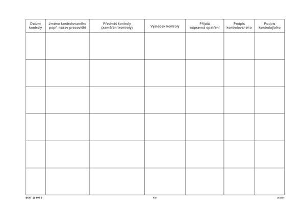 Deník kontrol BOZP - sešit A4, 50 listů