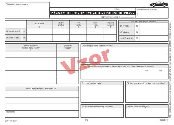Záznam o provozu vozidla osobní dopravy - blok A5, 100 listů