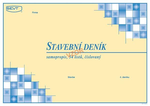 Stavební deník na šířku samopropis - SEVT, a.s. - blok A4, 54 listů (9+3x15), číslovaný