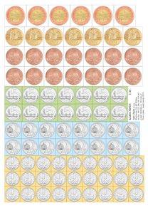 Výukova sada papírových mincí