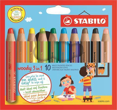 STABILO woody 3 in 1 - sada 10 barev