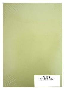 Kreslicí karton barevný A3 225 g - mix 5×10 barev