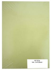 Kreslicí karton barevný A3 125 g - mix 5×10 barev