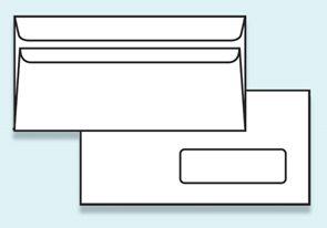 Obálka DL samolepící, s okénkem - recyklovaný papír