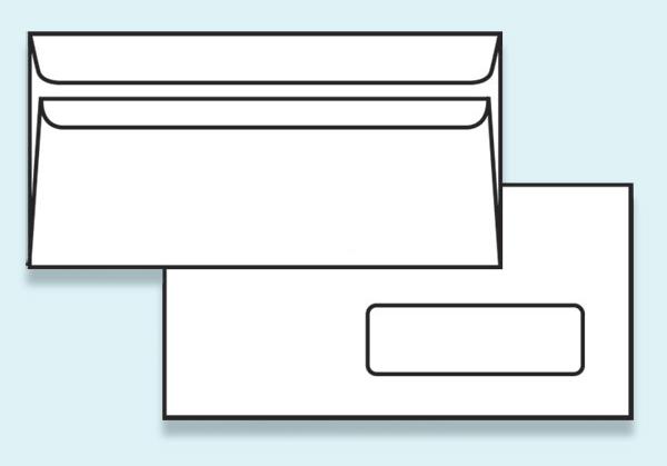 Obálka DL samolepící, s okénkem - recyklovaný papír - DL