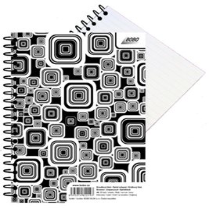 BOBO Blok Black&White s boční spirálou A6 50 listů - linkovaný