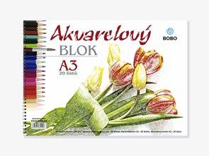 BOBO Akvarelový papír A3 20 listů - kroužková vazba