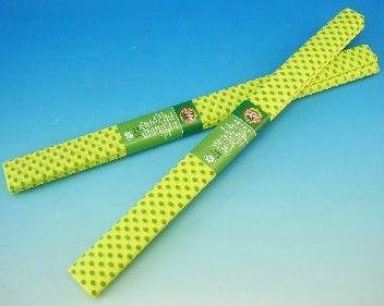 Krepový papír - žlutý se zelenými puntíky