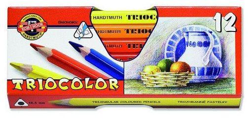 Koh-i-noor Pastelky dřevěné silné 12 barev - trojhranné