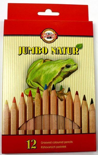 Koh-i-noor Pastelky dřevěné natur Jumbo - 12 barev
