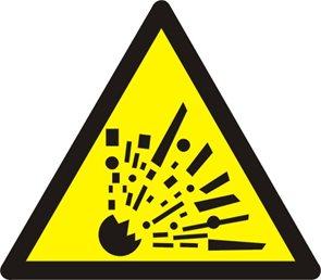 Výstraha riziko exploze - 20×20/ fólie