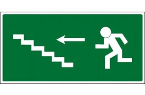 Únikové schodiště vlevo nahoru - 21×10/ fólie
