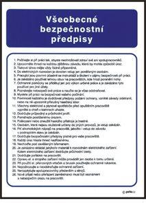 Všeobecné bezpečnostní předpisy - A3/ plast