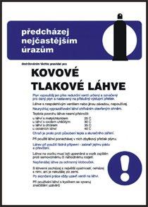 Pravidla bezpečné práce pro kovové tlakové lahve na plyny - A3/ plast