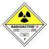 ADR č.7b - Radioaktivní látka v kusech kateg. II. (žlutý trojúhleník, černý tisk) -25×25/ fólie