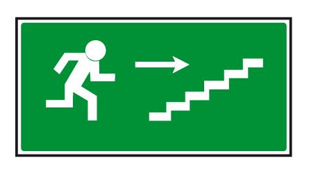 Únikové schodiště vpravo nahoru - 20×10/ FL-fólie - Svítivost: 400 mcd/m2 po 10 min. (dosvit 5400 min)