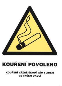 Kouření povoleno (označení restaurací) - 21x28 / plast