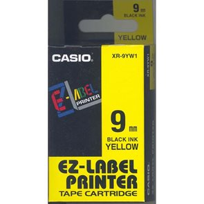 Samolepící páska 9 mm  žlutá + černý tisk