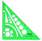 LINEX Multifunkční pravítko trojúhelník 5 v 1 - zelená