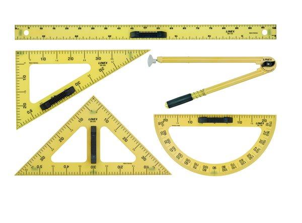 Linex Set rýsovacích pomůcek - pravítko, 2x trojúhelník, úhloměr, kružítko