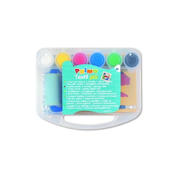 Barvy na textil - 6 x 25 ml + doplňky