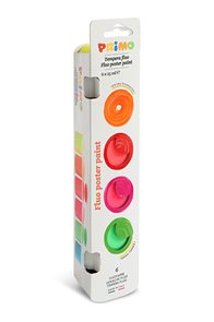 Primo Barvy temperové 6×25 ml - fluorescentní, v kelímkách