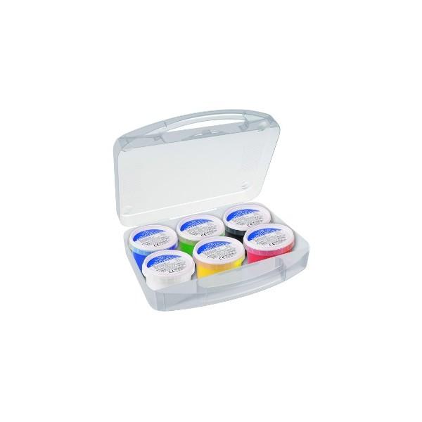 Prstové barvy - sada 6 x 100 g - v plastovém kufříku