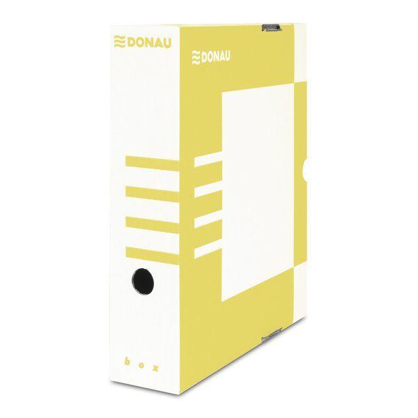 Donau Archivační box A4 80mm lepenka - žlutý
