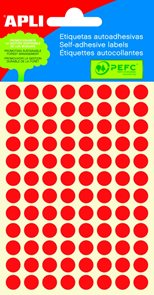Apli Samolepící etikety v sáčku 8 mm - červené