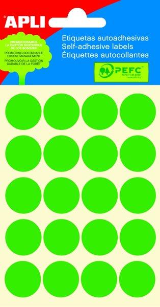Apli Samolepící etikety v sáčku 19 mm - zelené