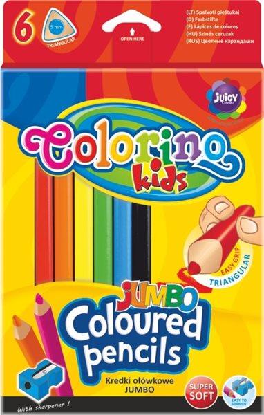 Trojhranné pastelky Colorino JUMBO - 6 barev + ořezávátko