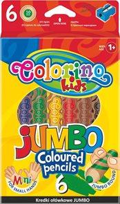 Kulaté pastelky Colorino Extra JUMBO - 6 barev + ořezávátko