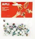 APLI Pohyblivé oči - kulaté, barevné s řasami - 100 ks