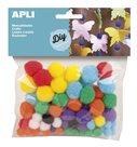 APLI Dekorativní Pom-pom kuličky 78 ks, barevný mix