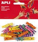 APLI Dřevěné kolíčky - barevný mix - 20 ks