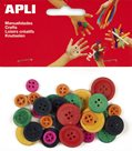 APLI Dřevěné knoflíky - barevný mix - 30 ks