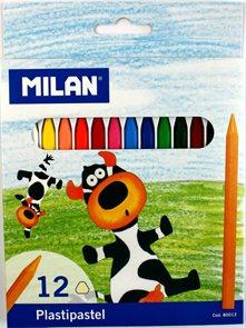 Milan Pastelky Plastipastel  (Plasticolor) 12 barev - trojboké