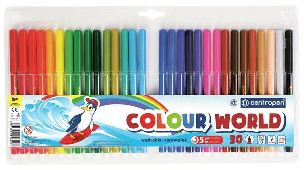 Centropen Popisovač COLOUR WORLD 7550 trojboký - sada 30 barev