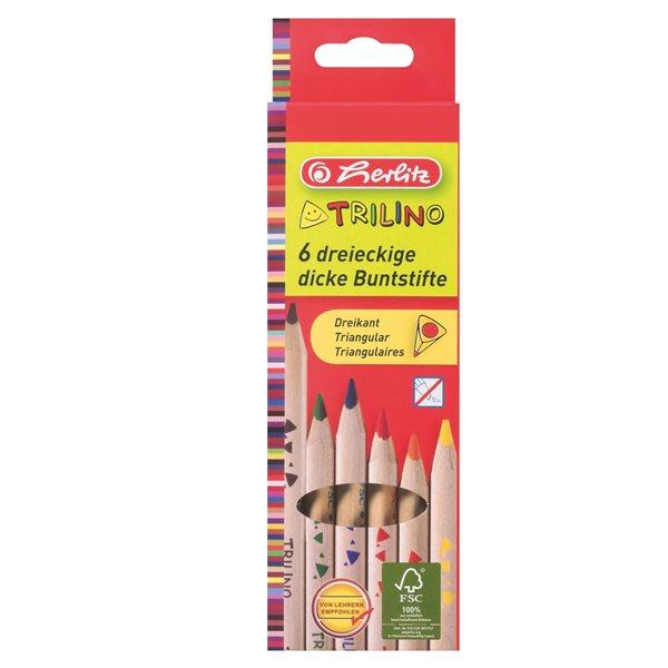 Herlitz Pastelky dřevěné trojhranné - 6 barev - Průměr tužky 10 mm