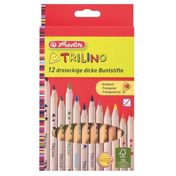 Herlitz Pastelky dřevěné trojhrané - 12 barev - Průměr tužky 10 mm