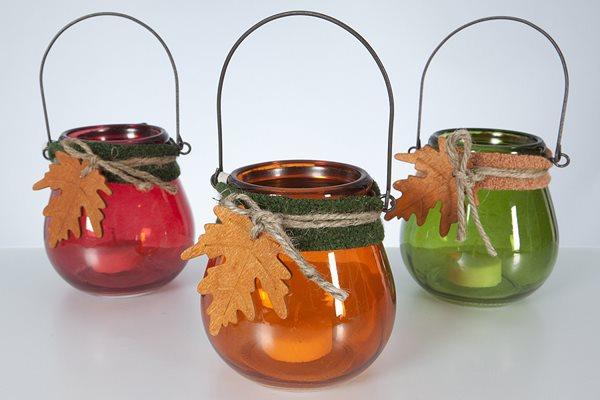 Závěsný skleněný svícen Podzim - zelený