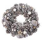 Dekorativní vánoční věnec - zasněžené šišky