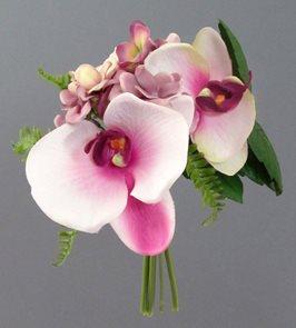 Umělá kytice orchidej s hortenzií - bílo-fialová